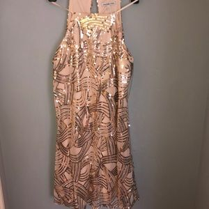 Tan mesh material dress with gold sparkles